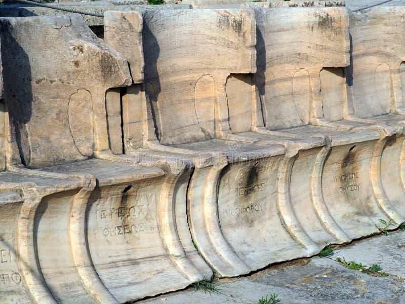 Oude Griekse Inschrijving, Theater van Dionysus, Athene, Griekenland royalty-vrije stock foto's