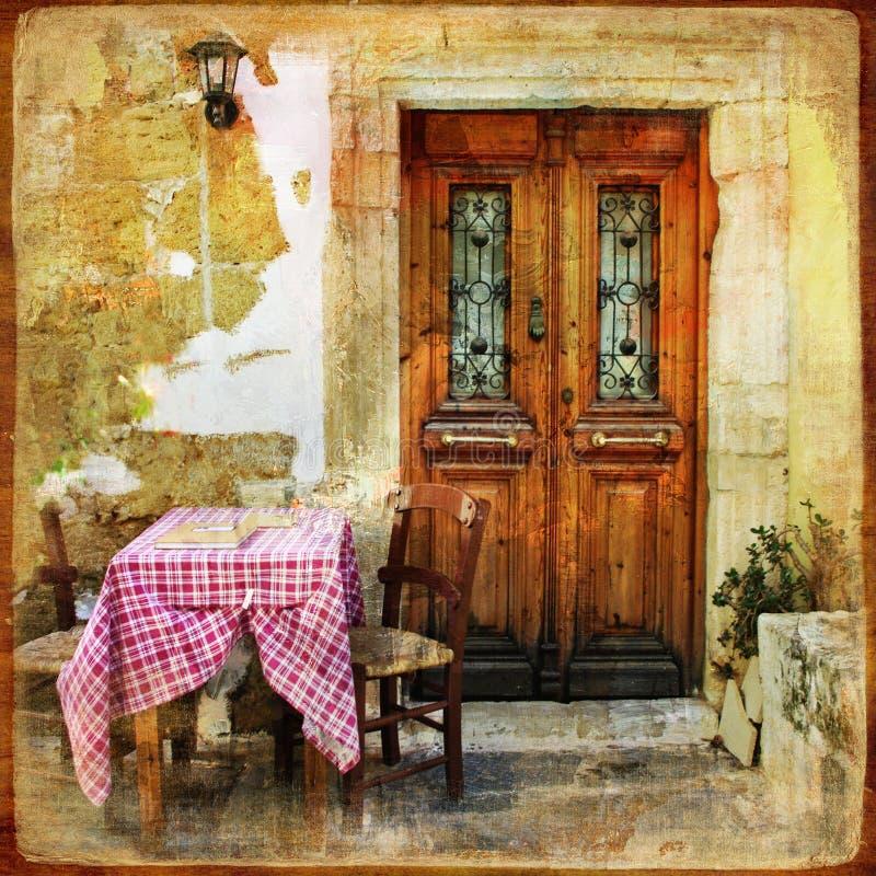 Oude Griekse straten stock afbeeldingen