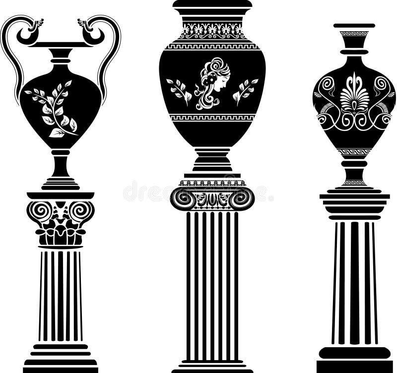 Oude Griekse vaas op kolom stock illustratie