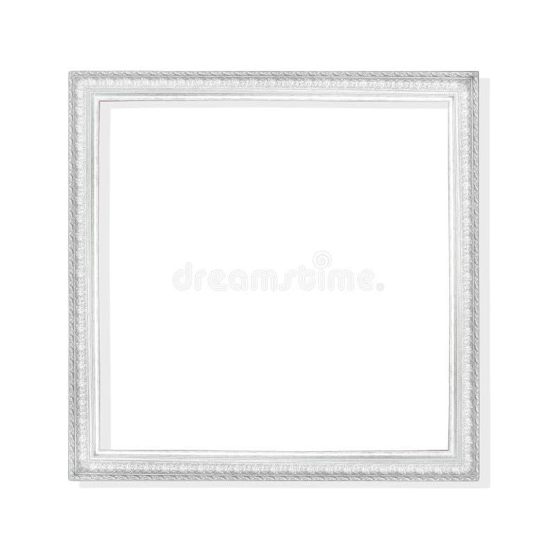 Oude grijze of zilveren die metaalomlijsting met het snijden van patronen op witte achtergrond met het knippen van weg worden geï royalty-vrije stock fotografie