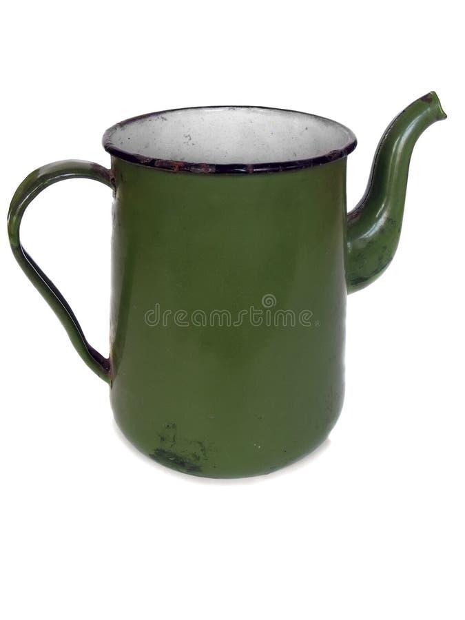 Oude groene coffee-pot stock foto's