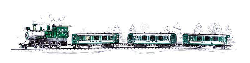 Oude groene stoomtrein en drie auto's onder dalende sneeuw in een sneeuwbos die een ballpoint en een viltpen trekken stock illustratie