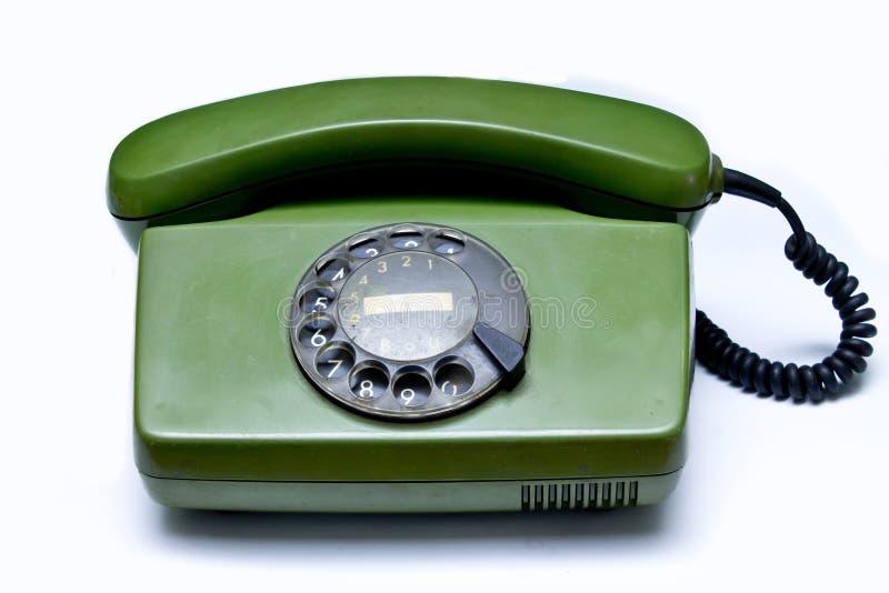 Oude groene telefoon stock foto