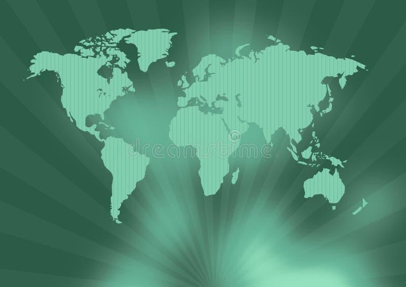Oude groene wereldkaart royalty-vrije illustratie