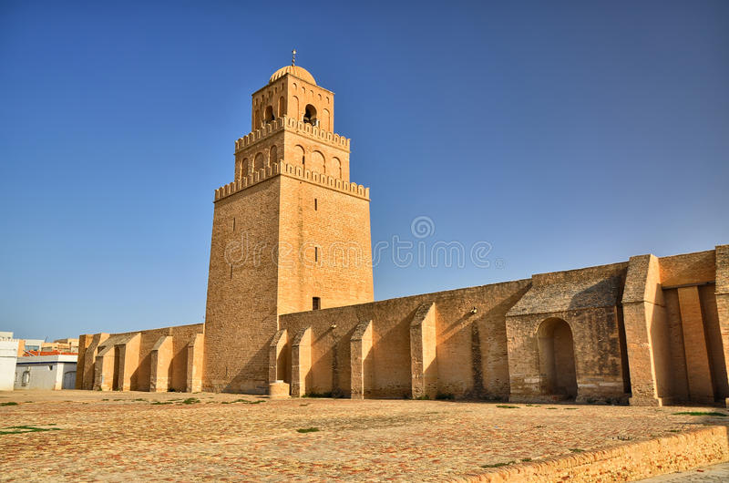 Oude Grote Moskee, Kairouan, Sahara Desert, Tunesië, Afrika, stock fotografie