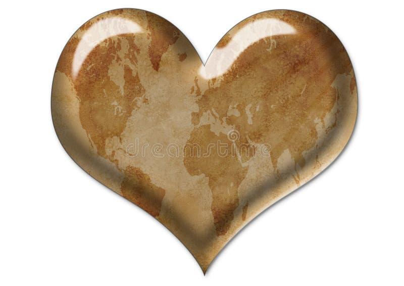Oude grungekaart in hart stock illustratie