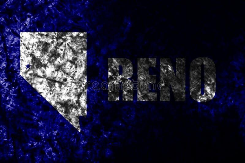 Oude grungevlag van de Renostad, Nevada State, de Verenigde Staten van Amerika royalty-vrije stock afbeelding