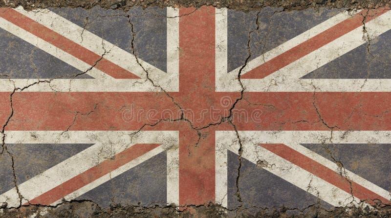 Oude grungewijnoogst langzaam verdwenen Britse Groot-Brittannië vlag royalty-vrije stock foto