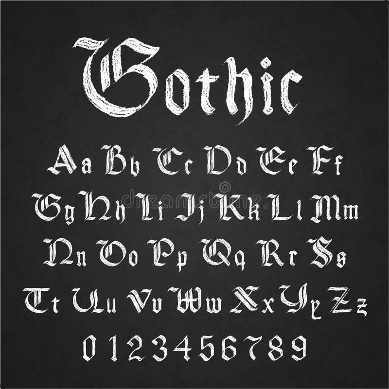 Oude hand getrokken gotische brieven die met wit krijt op zwart bord trekken royalty-vrije illustratie