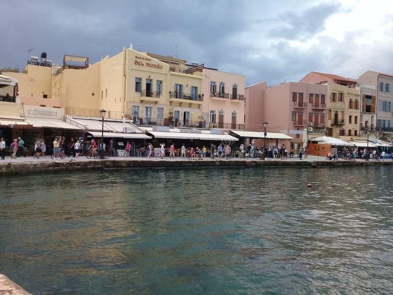 Oude haven in Chania, het Eiland Kreta, Griekenland stock foto