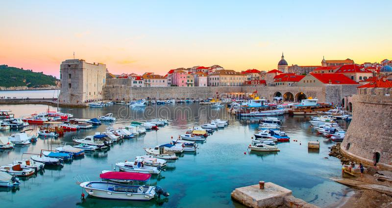 Oude haven in Dubrovnik stock fotografie