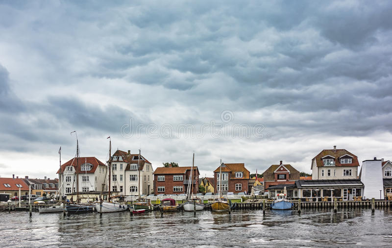 Oude haven in Kerteminde, Denemarken stock foto