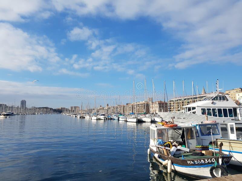 Oude Haven Marseille, Zuiden van Frankrijk stock foto's
