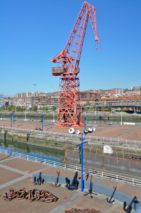 Oude haven van Bilbao, nu een rivieroevergang stock fotografie