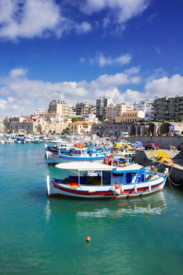 Oude haven van Heraklion, Kreta, Griekenland stock foto's