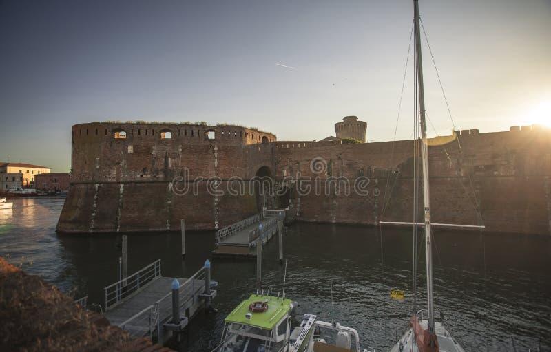 Oude Haven van Livorno tijdens Zonsondergang #3 royalty-vrije stock afbeeldingen