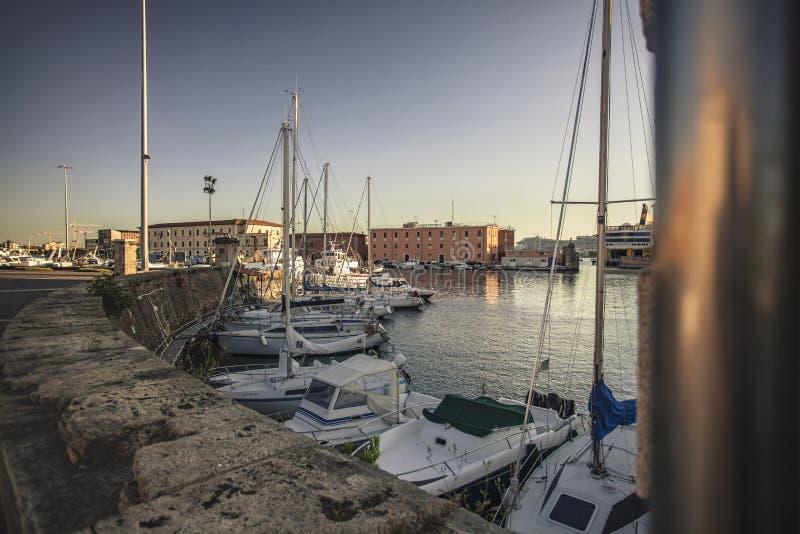 Oude Haven van Livorno tijdens Zonsondergang #7 stock foto's