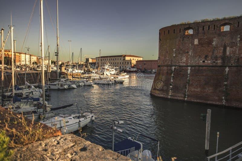 Oude Haven van Livorno tijdens Zonsondergang #4 royalty-vrije stock afbeelding