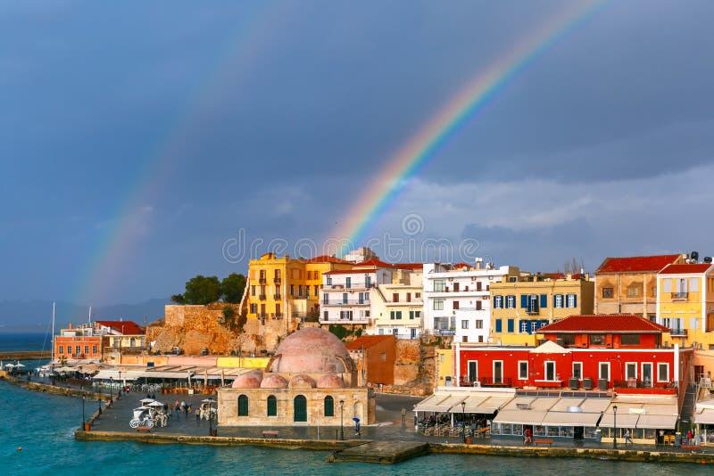 Oude haven in zonnige dag, Chania, Kreta, Griekenland stock afbeelding