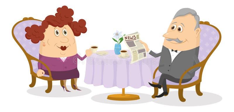 Oude Heer en dame het drinken koffie vector illustratie