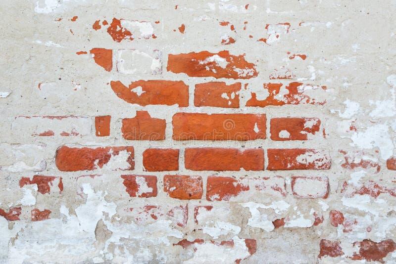 Oude het cementmuur van de grungebaksteen met gebarsten concrete textuur royalty-vrije stock afbeeldingen
