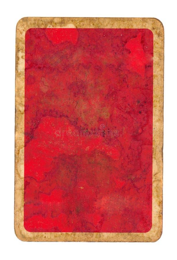 Oude het document van de grungespeelkaart rode dekkingsachtergrond stock foto's