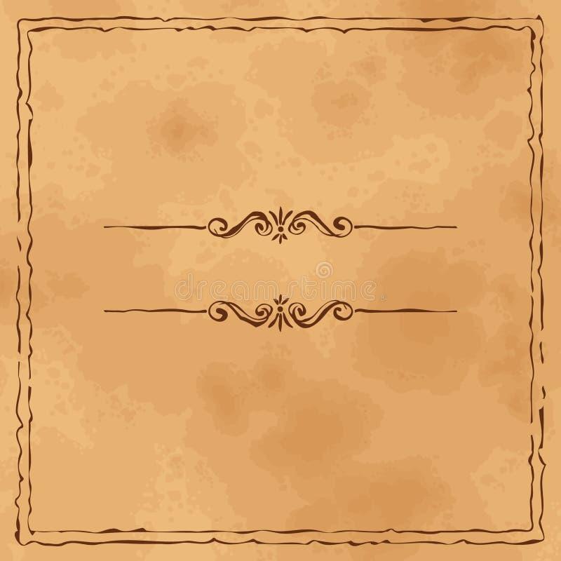 Oude het document van Grunge achtergrond met hand getrokken frame stock illustratie