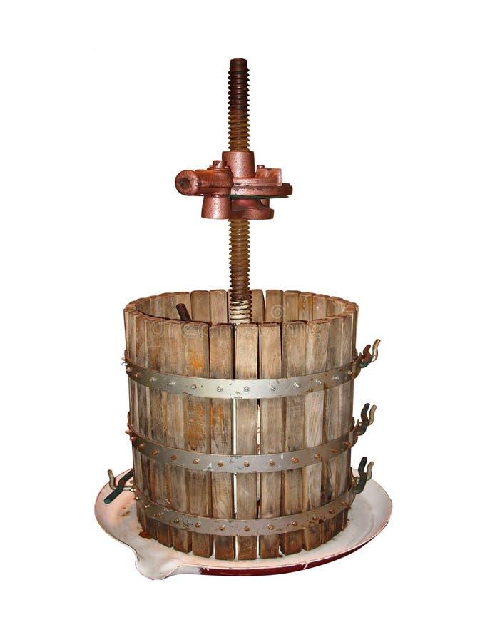 Oude het maken van de Wijn geïsoleerded druivenPers royalty-vrije stock afbeelding
