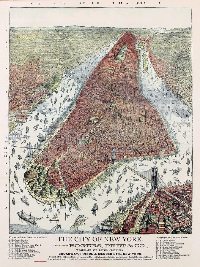 Oude het satellietbeeld Amerikaanse Oude illustratie van New York Gravureillustratie stock foto