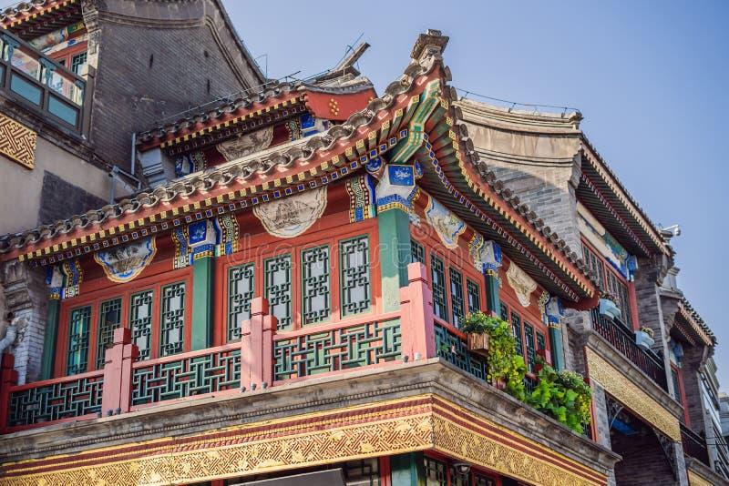 Oude het winkelen van China Peking Qianmen straat Oude straten van Peking stock foto's