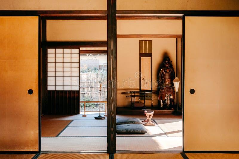 Oude historische Samoeraienhuizen in Sakura-stad, Chiba, Japan royalty-vrije stock afbeeldingen