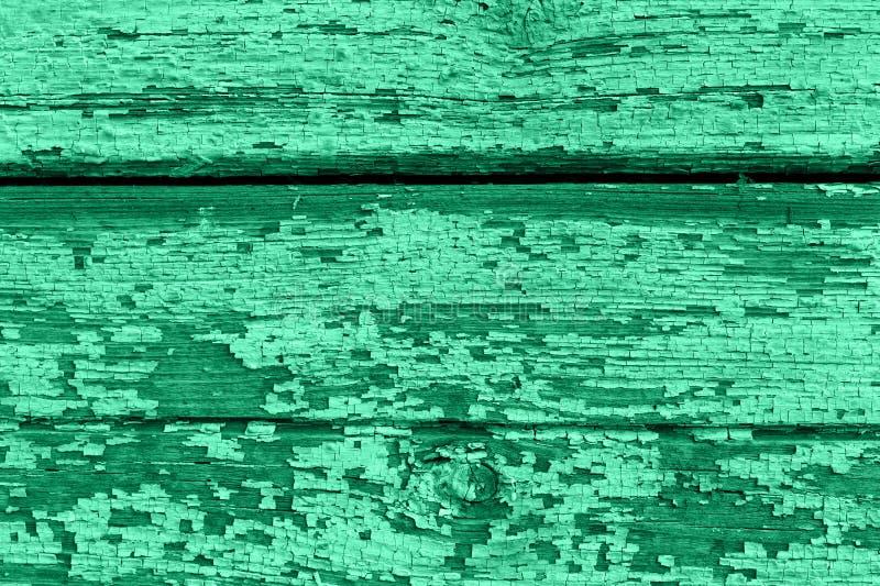 Oude houten achtergrond van raad met gebarsten en schilverf Neomuntkleur stock fotografie