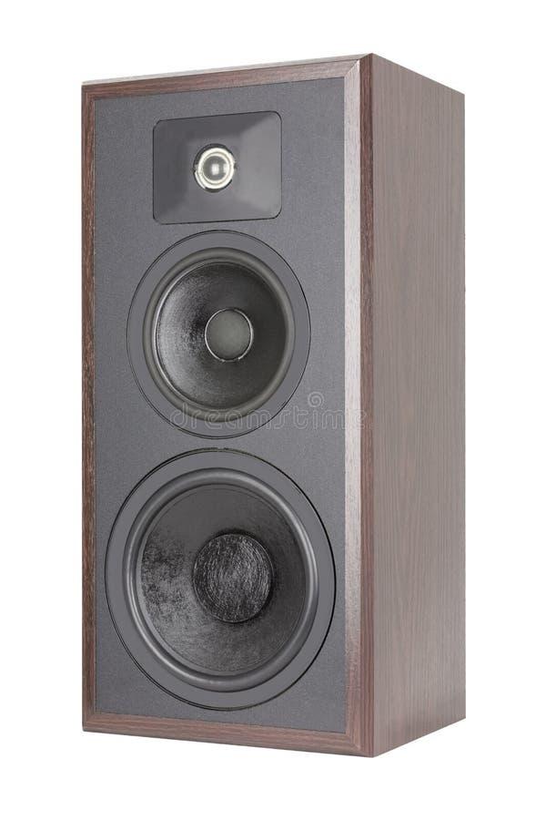 Oude houten audiospreker met drie richtingen stock fotografie