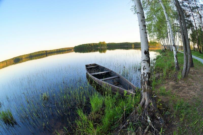Oude houten boot bij de kust van een bosmeer Idialisticlandschap met de lenteaard en duidelijke blauwe hemel stock foto's