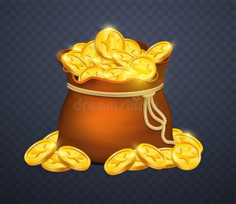 Oude houten borst met gouden muntstukken Vele schatten in spelstijl royalty-vrije illustratie
