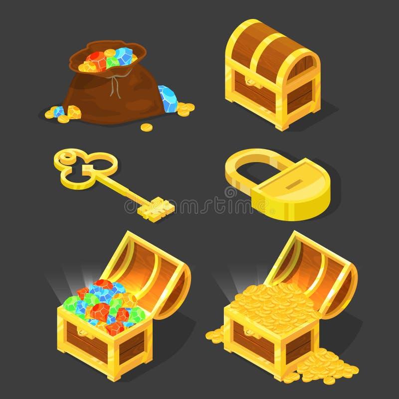 Oude houten borst met schatten, uitstekend sleutel en slot Vectorillustraties in beeldverhaalstijl stock illustratie