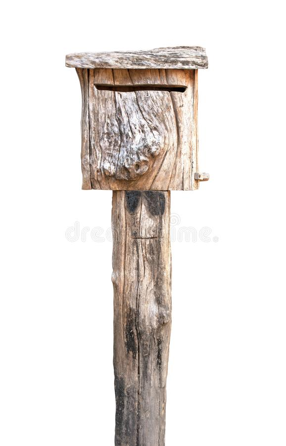 Oude houten brievenbus Oude houten ge?soleerde brievenbus Houten geïsoleerde brievenbus stock afbeelding