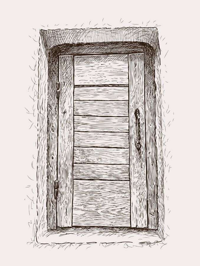 Oude houten deur royalty-vrije illustratie