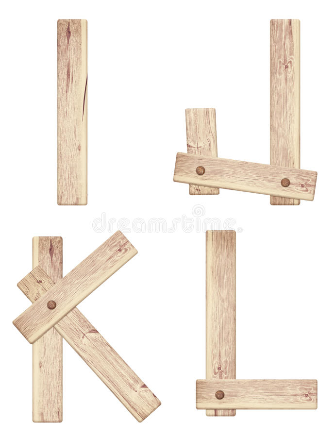 Oude houten die alfabetbrieven van houten planken worden gemaakt stock foto