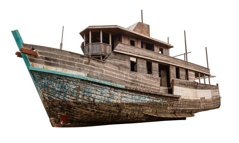 Oude houten die vissersboot op witte achtergrond wordt geïsoleerd royalty-vrije stock foto's