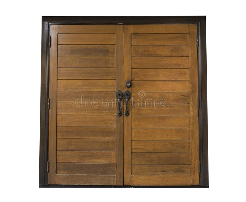 Oude houten dubbele die deuren op witte achtergrond worden geïsoleerd stock afbeeldingen