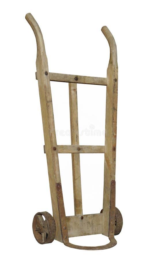 Oude houten geïsoleerde stootkar. stock foto's