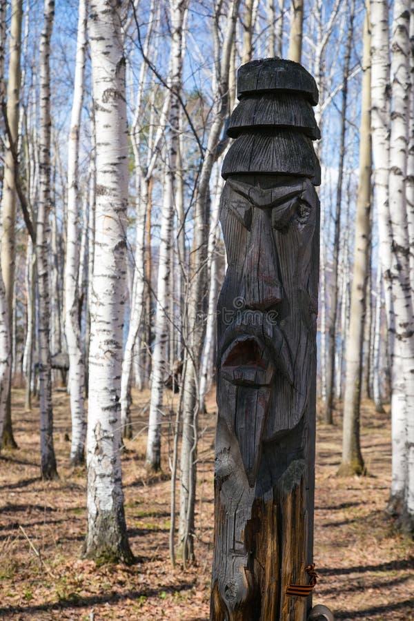 Oude houten idoolshamanists stock foto