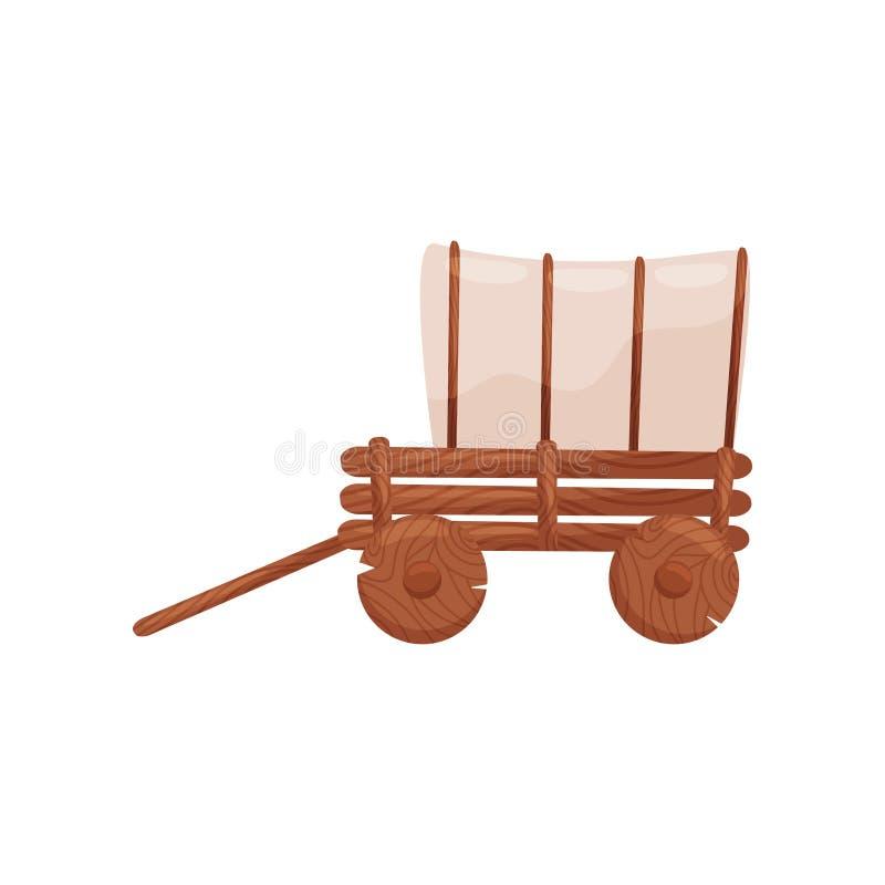 Oude houten kar met tent Landbouwbedrijfwagen Voertuig om goederen te vervoeren Beeldverhaal vectorontwerp royalty-vrije illustratie