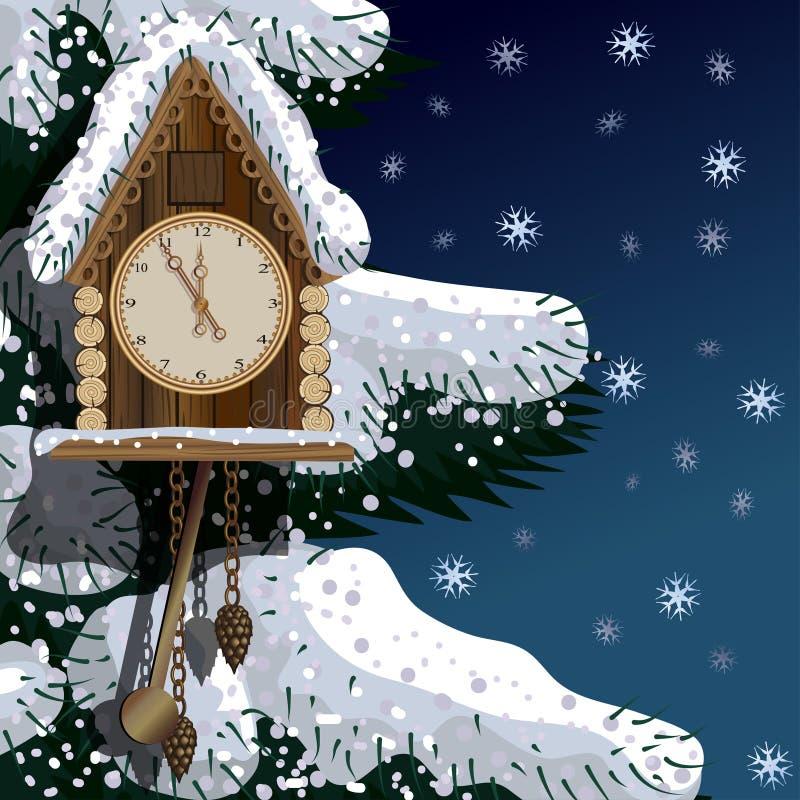 Oude houten klok met spar en sneeuw stock illustratie