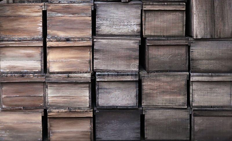 Oude houten krattentextuur royalty-vrije stock foto's