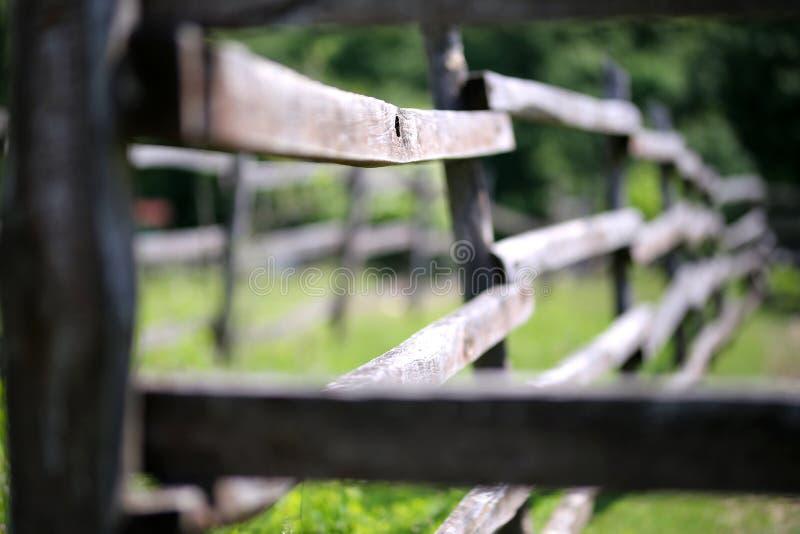 Oude houten landelijk drijft omheining in weide bijeen stock fotografie
