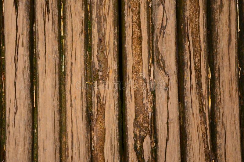 Oude houten logboekenvloer met mos van landelijk huis royalty-vrije stock fotografie