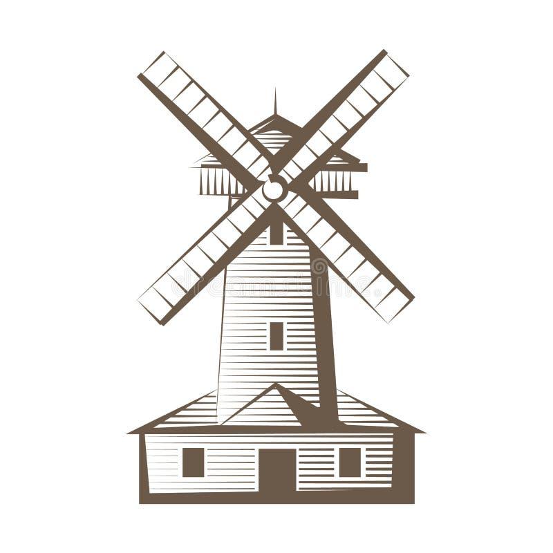 Oude houten molen, windmolenembleem of etiket Het landbouwpictogram van de concepten snijdende hand getrokken stijl Vector illust stock illustratie