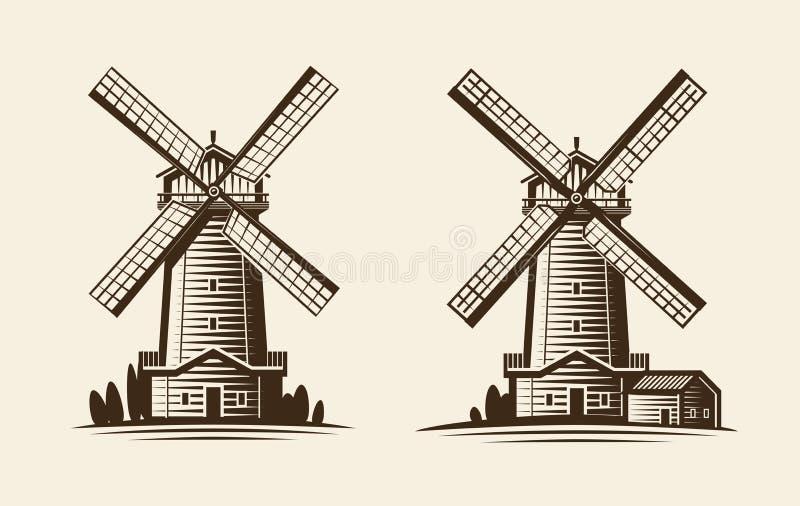 Oude houten molen, windmolenembleem of etiket Landbouw, de landbouw, landbouwindustriepictogram Uitstekende vectorillustratie royalty-vrije illustratie